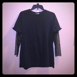 Zara 3/4 sleeve mesh arms shirt black